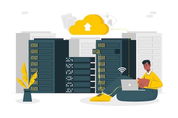 Ilustração do conceito de hospedagem em nuvem