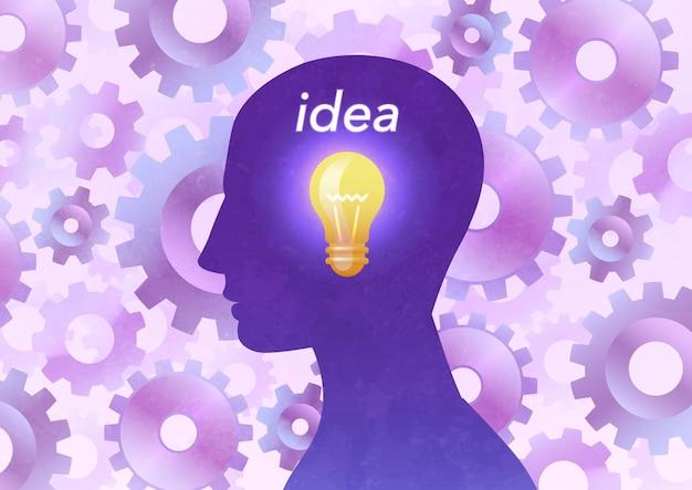 Ilustração do conceito de ideia com lâmpada no retrato da silhueta do homem contra o fundo das engrenagens