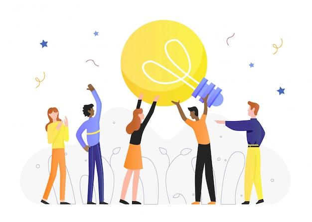 Ilustração do conceito de ideia de lâmpada, personagens de desenhos animados minúsculos homens mulher segurando uma lâmpada, criar ideias inovadoras em branco