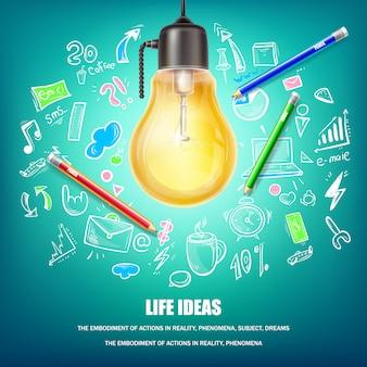 Ilustração do conceito de idéias criativas