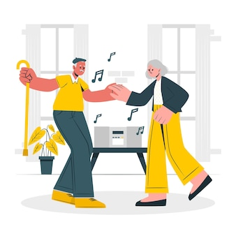 Ilustração do conceito de idosos ativos