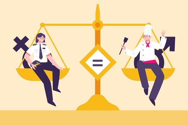 Ilustração do conceito de igualdade de gênero com escala