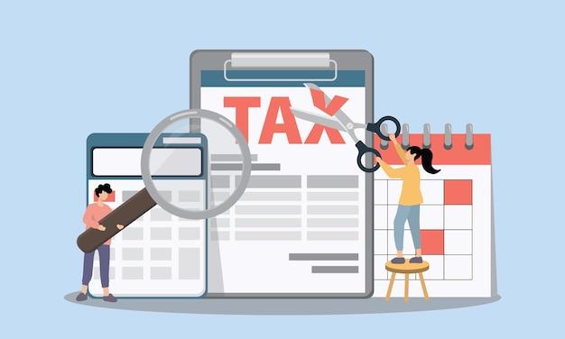 Ilustração do conceito de imposto e contabilidade