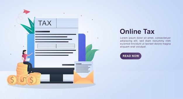 Ilustração do conceito de imposto on-line com o formulário disponível na tela do computador.