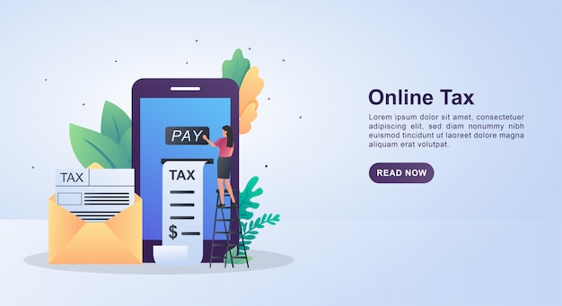 Ilustração do conceito de imposto online para facilitar o pagamento de impostos.