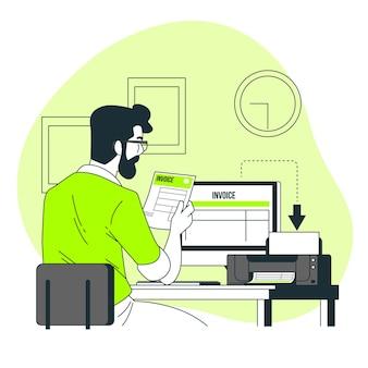 Ilustração do conceito de impressão de faturas