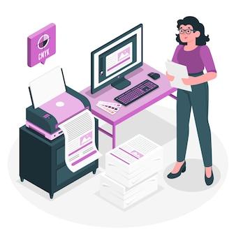 Ilustração do conceito de impressora