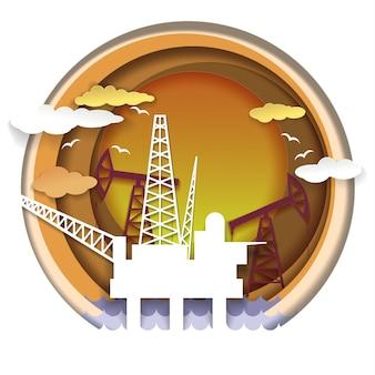 Ilustração do conceito de indústria de petróleo em estilo de arte de papel