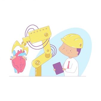 Ilustração do conceito de indústria dos desenhos animados com robô e um engenheiro.