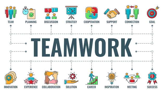 Ilustração do conceito de infográficos de trabalho em equipe e colaboração