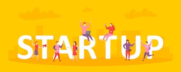 Ilustração do conceito de inicialização de pessoas de negócios, trabalhando em equipe para iniciar um negócio. atividade de homens e mulheres estratégia entre inicialização enorme letras. pessoas de personagens em design plano. ilustração vetorial