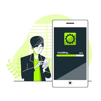 Ilustração do conceito de instalação de aplicativo