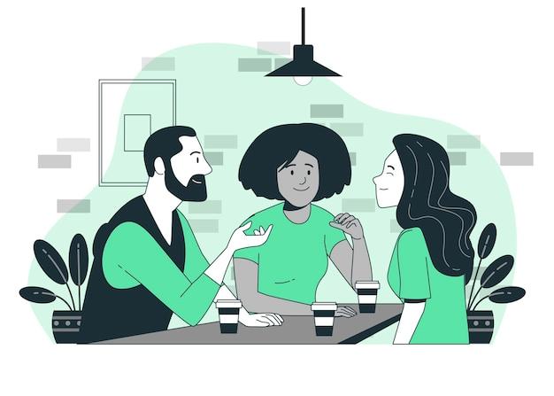 Ilustração do conceito de interação social