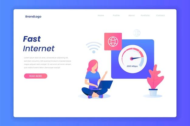 Ilustração do conceito de internet plana rápida