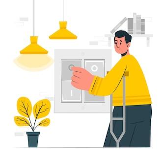 Ilustração do conceito de interruptores