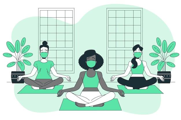 Ilustração do conceito de ioga com máscaras faciais