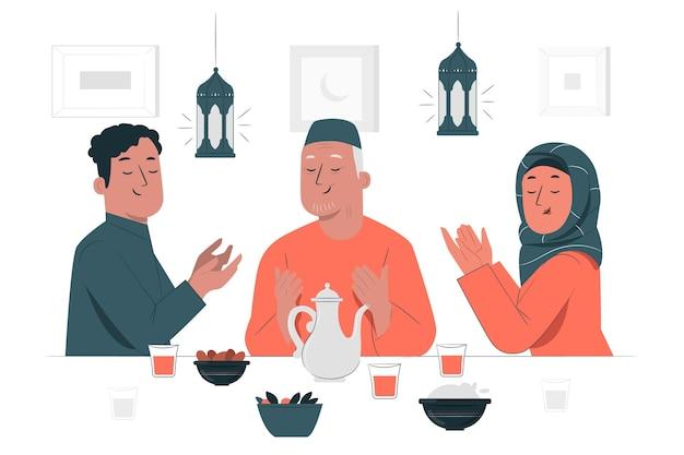 Ilustração do conceito de jantar iftar