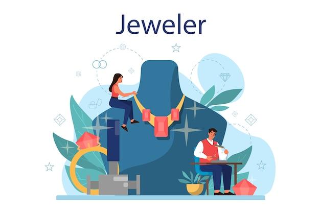Ilustração do conceito de joalheiro. idéia de profissionais e pessoas criativas. joalheiro examinando diamante facetado no local de trabalho. pessoa que trabalha com pedras preciosas. ilustração vetorial