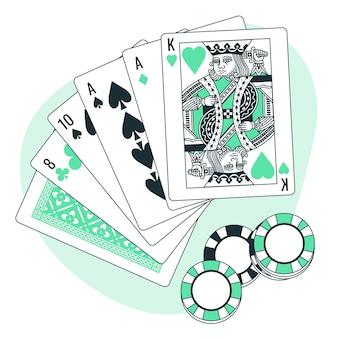 Ilustração do conceito de jogo de cartas
