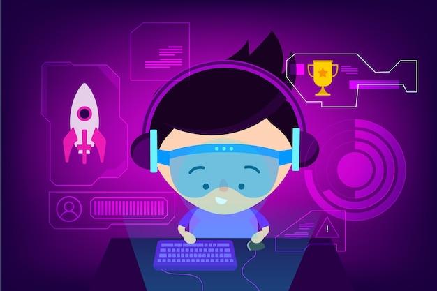 Ilustração do conceito de jogos online com jogador