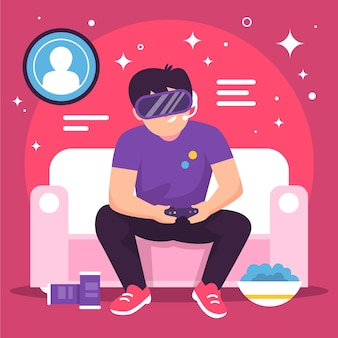Ilustração do conceito de jogos online com menino jogando vr