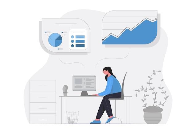 Ilustração do conceito de jovem senhora trabalhando arduamente e analisando dados