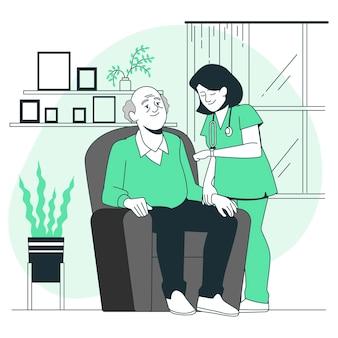 Ilustração do conceito de lar de idosos