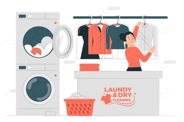 Ilustração do conceito de lavanderia e lavagem a seco