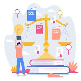 Ilustração do conceito de lei de patentes