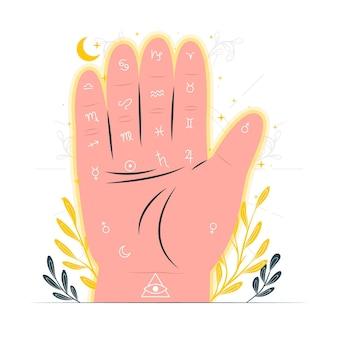 Ilustração do conceito de leitura da palma Vetor grátis