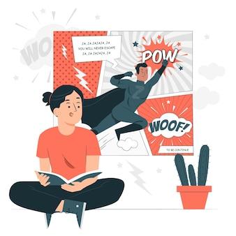 Ilustração do conceito de leitura de quadrinhos