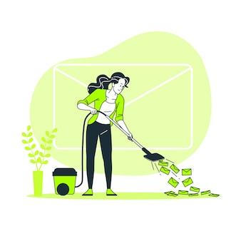 Ilustração do conceito de limpeza da caixa de entrada