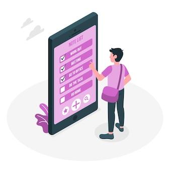 Ilustração do conceito de lista de notas móveis