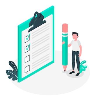 Ilustração do conceito de lista de verificação