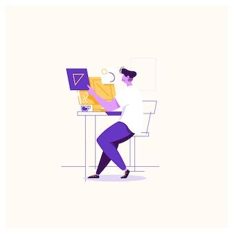 Ilustração do conceito de local de trabalho de designer gráfico