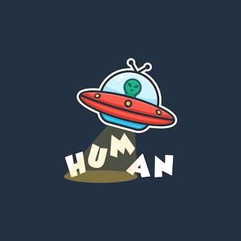 Ilustração do conceito de logotipo alienígena ufo