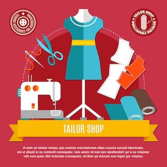 Ilustração do conceito de loja de alfaiate