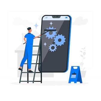 Ilustração do conceito de manutenção do telefone