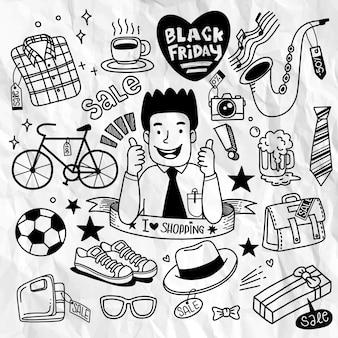 Ilustração do conceito de mão desenhada de venda de sexta-feira negra.