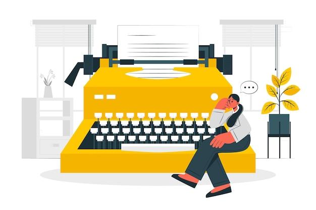Ilustração do conceito de máquina de escrever