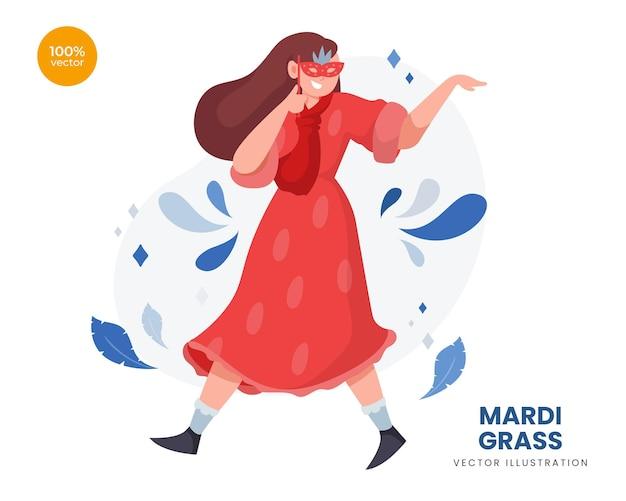 Ilustração do conceito de mardi gras com a mulher usa uma máscara ou baile de máscaras para celebrar o carnaval com um belo traje e scraf