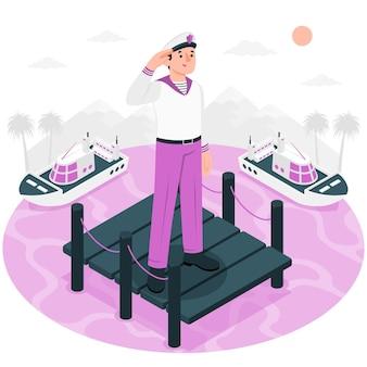 Ilustração do conceito de marinheiro