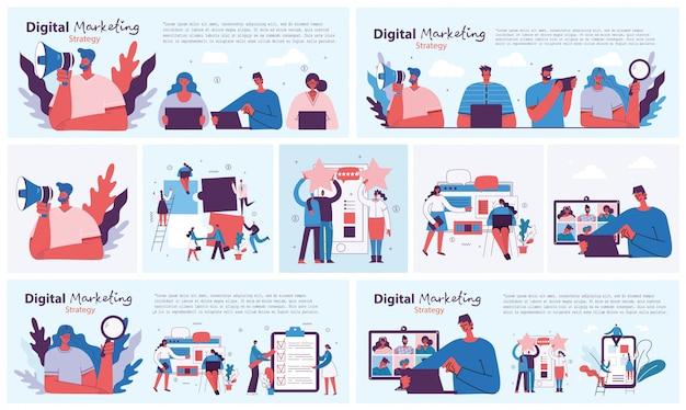 Ilustração do conceito de marketing digital em design plano e limpo. homens e mulheres usam laptop e tablet, pesquisando e promovendo. página inicial, aplicativo de página única para desenvolvimento web, design.