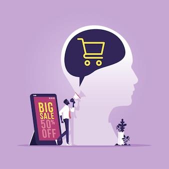 Ilustração do conceito de marketing móvel e-commerce, publicidade e promoção na internet