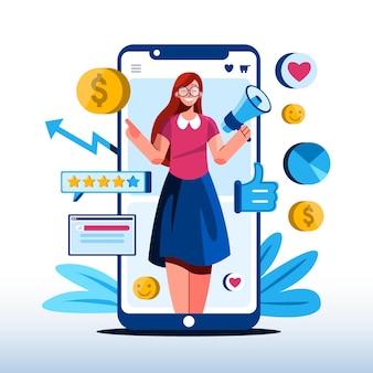 Ilustração do conceito de marketing móvel plano