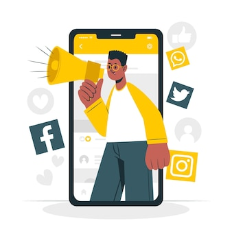 Ilustração do conceito de marketing móvel
