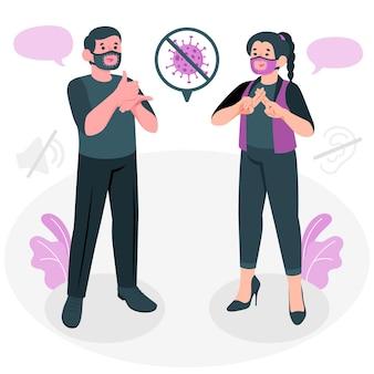 Ilustração do conceito de máscara para surdos