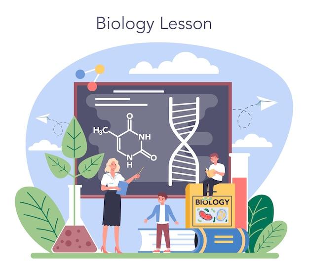 Ilustração do conceito de matéria escolar de biologia em estilo cartoon