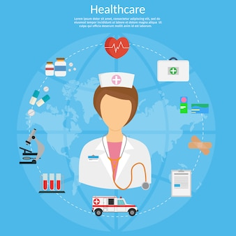 Ilustração do conceito de medicina em estilo moderno design plano