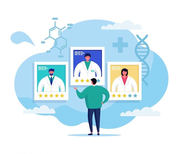 Ilustração do conceito de medicina on-line, equipe de médico dos desenhos animados, aconselhando o caráter paciente do homem em redes sociais em branco